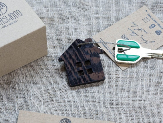 Wood Home Keychain Key Chain Key Fob, Custom Personalized Laser Engraved Keychain. Gift for key. Real wood. Steel cable included.