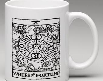 Wheel of Fortune Mug - Tarot Print Mug - Tarot Card Mug - Occult Mug - Occult Coffee Mug