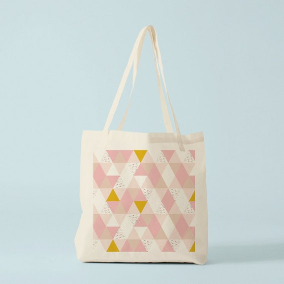 Tote Bag Nude Triangles, blush color, geometric canvas bag, shopper bag, novelty gift coworker, gift best friend, gift women, gift sister.