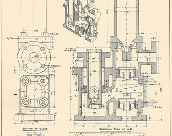 Machine Drawring, Small Vertical Ram Pump 1930s Vintage industrial Print Engineering Drawrings blueprint Art Plan Gift Home