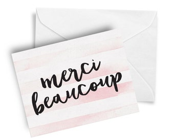 "Merci Beaucoup, French Inspired, Pink Striped, Thank You Card,- Cute Stationery, 5.5""x4"""