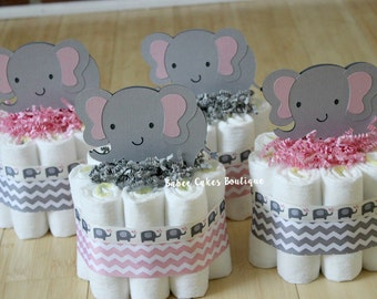 SET OF 4 Mini Pink and Gray Elephant Diaper Cake, Pink Gray Elephant Baby Shower, Girl, Baby Centerpiece, Pink Grey Chevron Elephant Decor