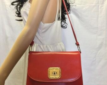 Red Vinyl Purse, bag,1950s, 1960s, Bags, Purses