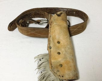 Holster belt,Leather knife Holster, Fringed w/ Belt and Buckle, Tan Leather