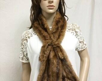 Mink Fur scarf, Wrap, mink scarf,brown, with clasp