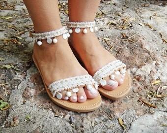 "Bridal ""Aphrodite"" Sandals/Coral Gemstones/White and Gold Lace / Genuine Leather / Slingback Slides Strap / Handmade Leather Sandals"