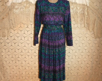 Vintage 80s Long Sleeve Dress Pleated Dress Purple Print Day Dress Belted Rayon 1980s Secretary Dress Size 12 Dress Large Womens Clothing