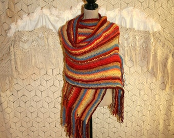 Hand Knit Shawl Large Scarf Wrap Striped Shawl Hippie Clothing Scarf with Fringe Hippie Shawl Festival Clothing Plus Size Fall Accessories