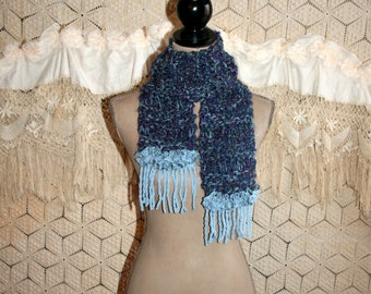 Unique Handmade Chunky Blue Knit Scarf with Fringe Hippie Boho Scarf Womens Scarves Drop Stitch Scarf Winter Scarf Knitted Accessories