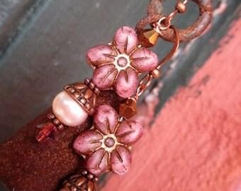 Morning Glory Flower Czech Glass and Freshwater Pearl Fairy Handmade Earrings