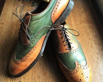Vintage 70s Footjoy Classics Tan and Green Wingtip Spectator Golf Shoes 12B