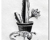 Original Handmade Linocut Print, cactus, lizard, wall decor, plant, hand pulled, blockprint, black ink