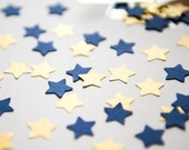 300 Blue and Gold Confetti. A set of blue and golden Star confetti for wedding, baby shower, parties and decoration. Die cut star mix