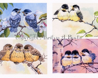 SET of FOUR ACEO cards; baby birds, limited edition, four cards in the set, set of ten, 90 lb watercolor paper, wings, feathers, song birds