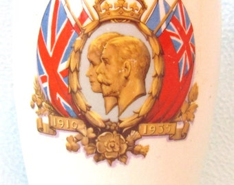 Vintage Collectible Beaker, Silver Jubilee of King George V and Queen Mary, 1935, Great Collectible, English Royalty, Decorative Beaker