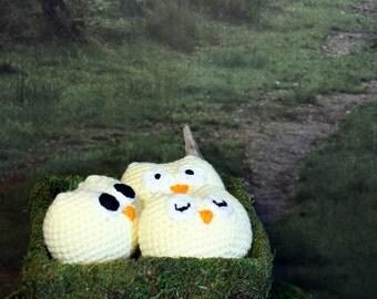Light Yellow Owl Stuffed Animal, Crochet Amigurumi Plush Toy