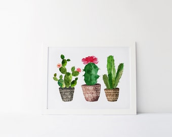 cactus art print · succulent print · watercolor cactus print · tribal print · watercolor art · western print · home decor · floral art print