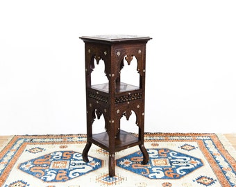 Three Tiered Carved Moroccan Stand with Mother of Pearl Inlays