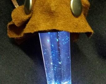 Blue light up crystal pendant
