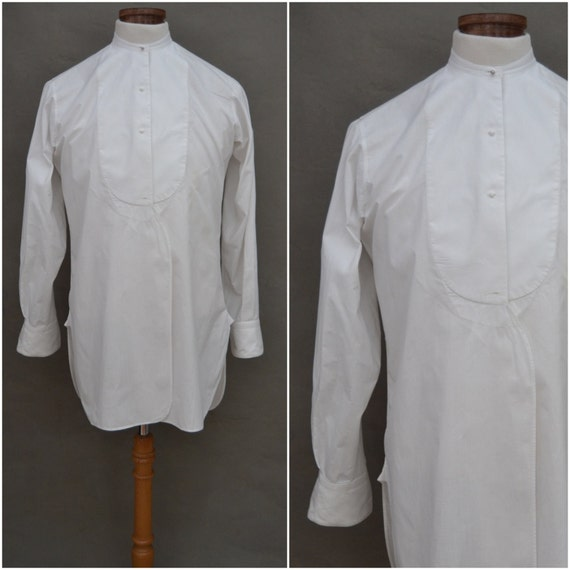 Vintage shirt early 20th century bib front by for Tuxedo shirt bib front