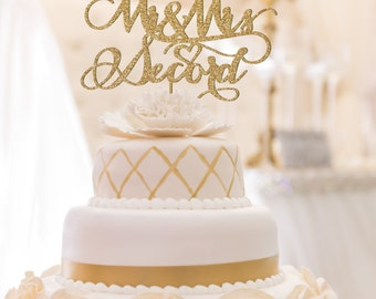 Wedding Cake Topper Custom Mr and Mrs Last Name Rustic Personalized Surname Bride Groom Modern Script Engagement Party Decor Rose Gold Silver