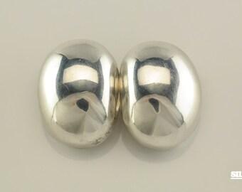 Sterling Silver Sleek Clip On Earrings