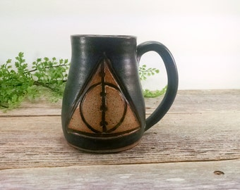 Harry Potter Deathly Hallows Elder Wand Mug - 16 oz BlackWheel Thrown Hand Carved Coffee Cup