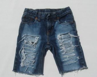 Toddler boy distressed denim jean shorts bleached front and back ripped any size