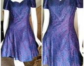 Vintage Purple Lace Dress by Paris Sport Club, Off the Shoulder Dress, Cocktail Dress, Scalloped Cap Sleeve Dress, Party Dress, SM