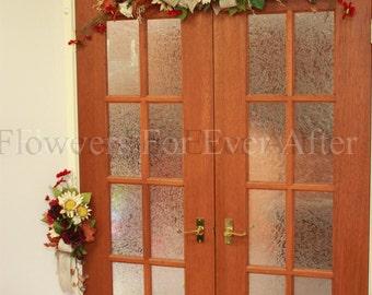 Autumn / Fall Wedding Arbor /Arbour Arch Tieback Decoration, Silk Flower & Burlap Tie Back, Artificial Floral Rustic Wedding