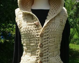 Crochet Basket-weave Sweater Vest with Hood