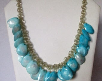 Vintage Turquoise- Dyed Mother-of-Pearl Shell Necklace