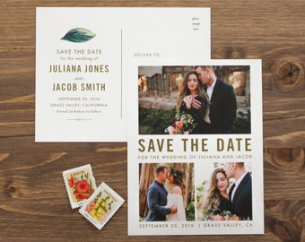 Photo Save the Date, Botanical Save the Date, Save the Date Postcard, Modern Save the Date, Destination Wedding