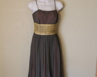 vintage 1950s midcentury new look chiffon formal dress / xs/s 25 inch waist
