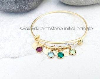 Personalized Initial Bangle Swarovski Birthstone Bangle monogram letter Bangle Custom Initials Monogram Jewelry Mothers Gift custom bangle
