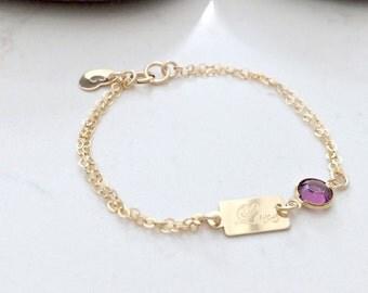 Personalized Birthstone Bracelet heart bracelet initial bracelet swarovski birthstone love tag heart jewelry 14k gold filled bracelet gift