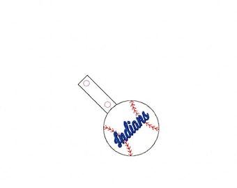Indians - Baseball - In The Hoop - Snap/Rivet Key Fob - DIGITAL Embroidery Design
