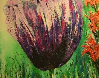 Poppy Oil Palette Knife Painting - Original Canvas Purple  Poppy Oil Painting - Colorful Flower Oil Painting - Hanging Wall Decor - 16 x 20