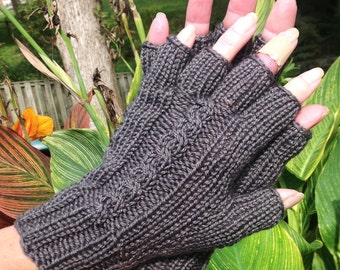 Half Finger Gloves Ladies' Hand Knit Dark Gray Cabled Merino Wool & Silk Half Finger Gloves Hand Warmers Gray Ladies' Half Finger Gloves