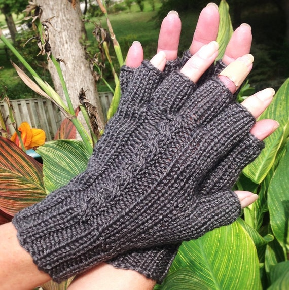 Half Finger Gloves Ladies Hand Knit Dark Gray Cabled