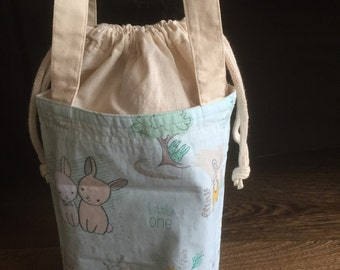 Cotton fabric lunchbag, boxy drawstring bag, Personalized lunch bag, eco-friendly bag, school supplies, reusable lunch bag, bunny lunch bag