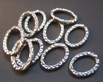 10 Hammered Pewter Oval Links - Made in the USA