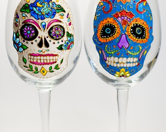 Halloween Party Favor Sugar Skull Wine Glasses, Halloween Glasses Skull Wine Glass Day of the Dead, Hand painted Glassware, Halloween Glass