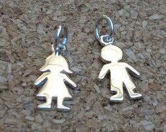 Sterling Silver Girl and Boy Charm, Child's Charm, Children's Charm Bracelet, Sterling Silver People Charm, Female and Male Charm, Kid Charm