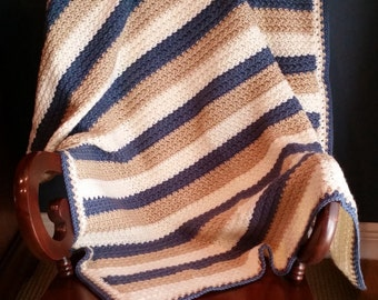 Crocheted Striped Blanket