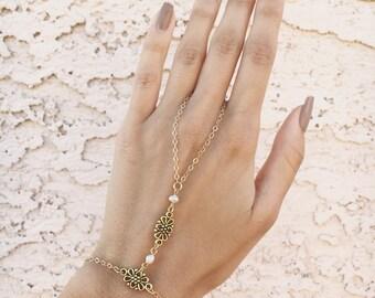 Matte Gold Chain Slave Bracelet, Dainty Swarovski Crystals & Fresh Water Pearls Accessory