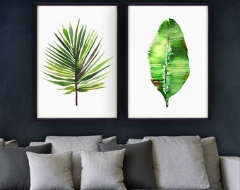 Palm Leaf Print Watercolor Painting Set Of 3 Botanical Art