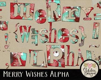 Christmas Alpha - Christmas Digital Scrapbook Alpha Clip Art - Merry Wishes Digital Alphabet, Digital Letters Clipart, Digital Alpha