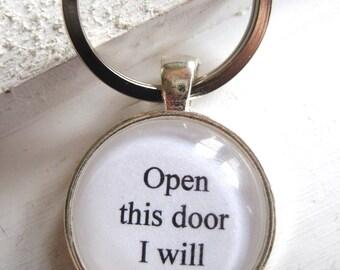 Open This Door I Will Keychain, Yoda gift, Yoda keychain, star wars keychain, star wars gift, handmade, stocking stuffer, Christmas