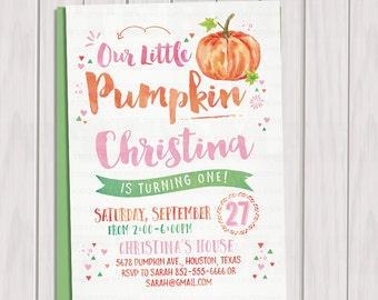 Pumpkin Invitation, Our Little Pumpkin Birthday Invite, Girl Pumpkin, Fall Birthday